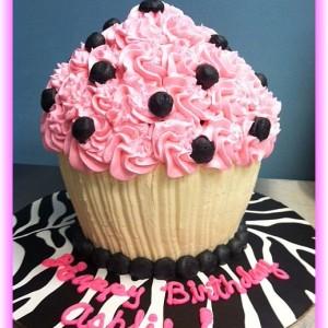 pink black cucpake cake