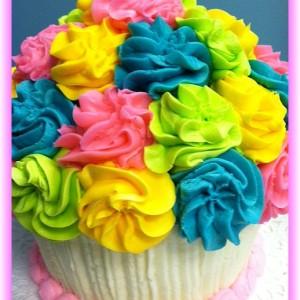 multi giant cupcake cake