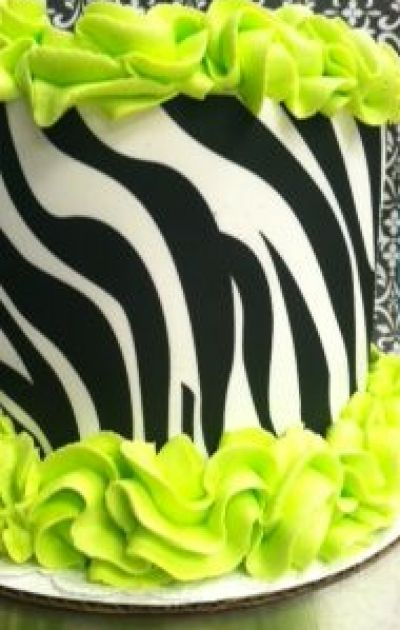 Lime Green Zebra Cake
