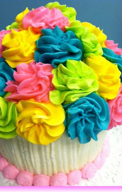 Multi Color Giant Cupcake Cake